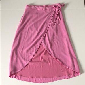 American Eagle Pink Tie Waist Wrap Skirt